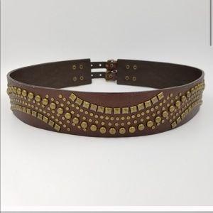 CACHE gold/bronze studded brown belt